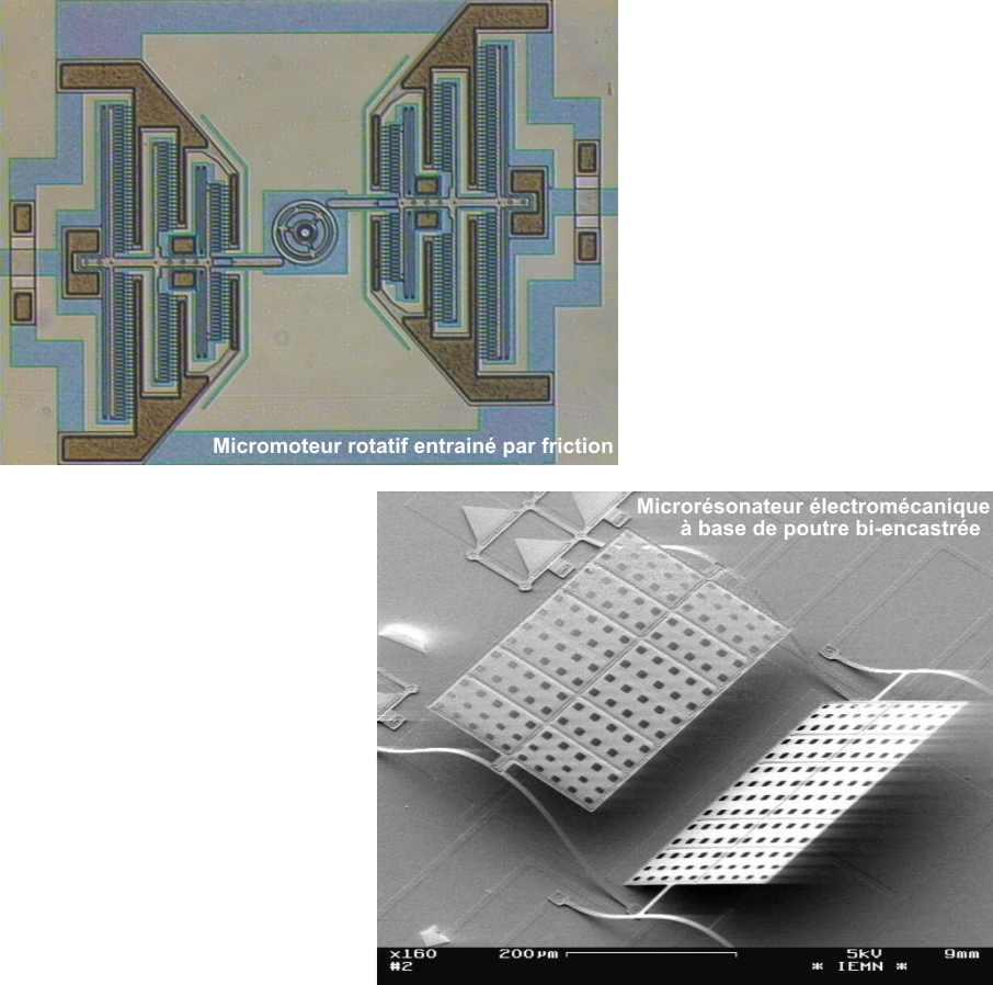 Une station sous pointes est dédiée à la caractérisation de dispositifs microsystèmes afin d'étudier les propriétés des micro-actionneurs et des micro-capteurs. Les performances d'actionneurs basés sur des effets électrostatiques, thermiques ou piézoélectriques sont couramment mesurées. Un montage utilisant des amplificateurs courant/tension associés à une détection synchrone permet le traitement des signaux de micro-capteurs capacitifs différentiels et donne accès à des déplacements de microstructures avec une précision nanométrique. Une part importante de l'activité concerne la caractérisation de microrésonateurs électromécaniques dans la gamme de quelques centaines de kHz jusque 1 GHz et fait appel selon la fréquence à une détection synchrone (2 MHz max), un impédancemètre (110 MHz max) ou à des analyseurs de réseaux. Dans le cadre de caractérisation de micro-commutateurs RF, la caractérisation électromécanique de l'actionneur du micro-commutateur est couplée à la caractérisation hyperfréquence du dispositif grâce aux moyens de caractérisation présentés précédemment - 2