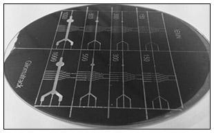 Dispositifs microfluidiques fabriqués sur une galette de silicium. M. IBRAHIM, A. TREIZEBRE, A. VLANDAS, V. SENEZ/IEMN (c)
