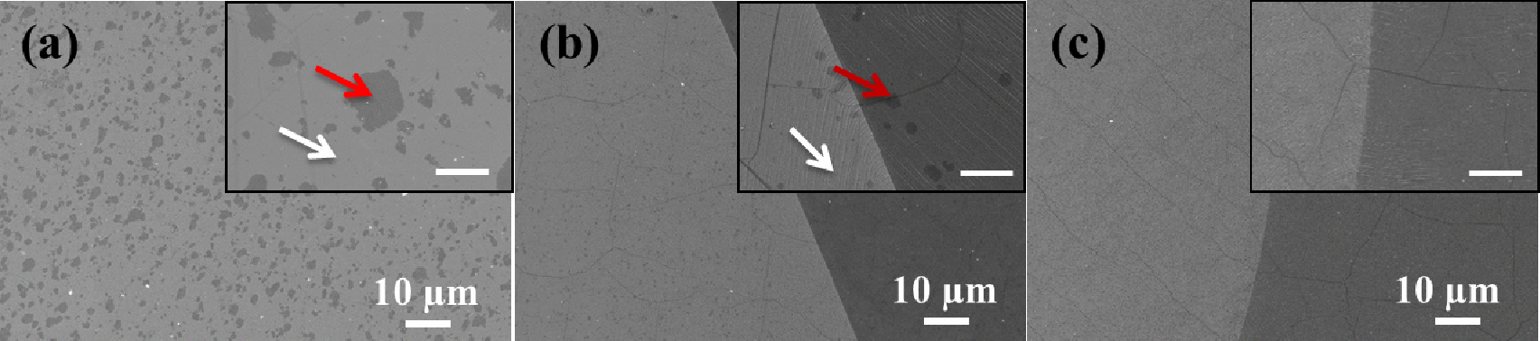 Optimisation of the graphene CVD process on Cu foils (inset scale bars are 2 µm). Monolayer (respectively bilayer) areas are shown by white (red) arrows, from Deokar et al. Carbon 89, 82 (2015).
