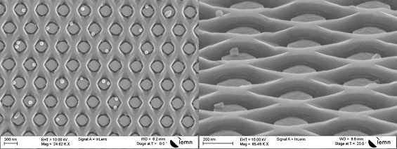 Figure 2 : Selective area epitaxy of an array of in plane InAs nanowires separated by GaAs nano-disks (top and bird view)